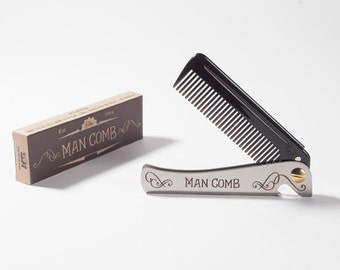 Man Comb (black) 'Limited Edition' Laser etched on the back. The ultimate tool for your hair, beard and beer.