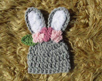 Crocheted Baby Bunny Newborn Bunny Hat Baby Bunny Hat Bunny Baby Hat Newborn Boy Hat Newborn Boy Photo Prop Bunny Crochet Hat Shower Gift