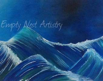 Original painting of the ocean waves, 'Rough Seas'