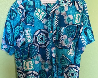 Vintage 1960s Hawaiian Men's Shirt Tiki Oasis Blue