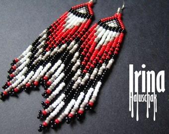 Red and black long beaded earrings seed bead earrings boho earrings fringe earrings dangle earrings grey earrings