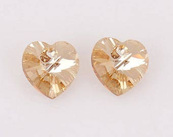 swarovski crystal Beads Heart Pendant (6202) 10mm GoldenShadow [5 pieces]