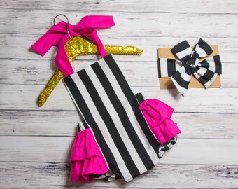 Baby Girl Romper, Black and white striped romper and head wrap set, black and white with pink outfit, pink ruffle outfit