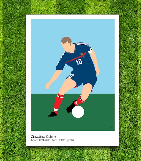 Zinedine Zidane // France // Football // Soccer // Minimalist Poster // Unique A4 / A3 Art Print
