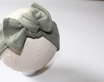 Mistletoe Tied Headwarp, Dusty Olive Headband