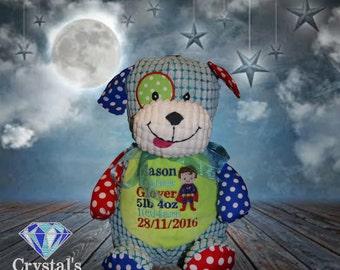 Harlequin Dog personalised toy, plush toy, baby toy, christmas, birthday, baby shower, soft toy, wedding, kids, baby, boyfriend, mum, dad