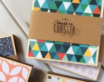 Geometric Decor, Geometric Gift, Geometric Coasters, Wood Coasters, Wooden Coasters, Green Decor, Green Coasters, Blue Decor, Blue Coasters