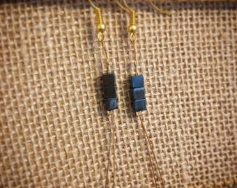 Hematite Bead Earrings, Beaded Wire Earrings, Square Bead Earrings, Dangle Bead Earrings, Gold Earrings with Hematite Beads, Healing Stones