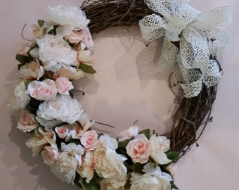 Spring Floral Grapevine Wreath; Spring wreath; floral wreath; grapevine wreath; front door wreath; peony and rose wreath; peach, cream, pink