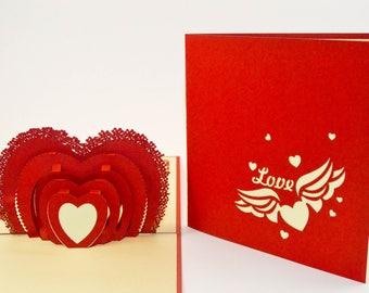 Pop Up Card -3D Cards - Valentine Card - Love Card -  3D Valentine Card - I Love You Card - Proposal - Paper Good