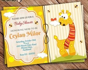 SALE 50% OFF Girrafe Theme Baby Shower Invitation / Printable / Personalized / Digital File / Baby Shower Gender Neutral / Cute Girrafe_3