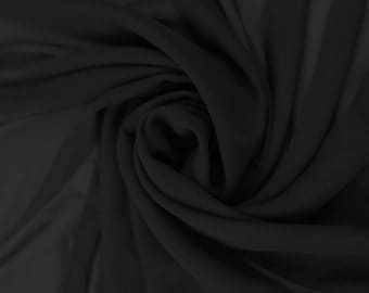 """Chiffon Black Fabric – Sold By The Yard, 58"""" wide, for Garments, Decoration, Crafts"""