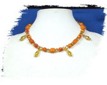EHMN #52  Fetching ORANGE & AMBER necklace