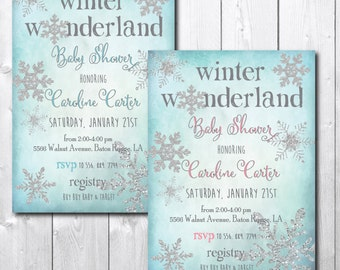 Winter Wonderland Baby Shower Invitation Printable/Winter Baby Girl Boy  Invitation/wording Can Be