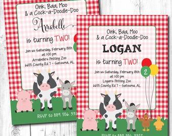 Farm Invitation, Girls Farm Invitation, Boys Farm Invitation, Petting Zoo Invitation, Farm Birthday Invitation, Barn Yard Birthday Party