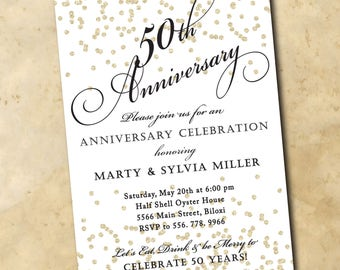 50th Wedding Anniversary Celebration Invitation printable/gold, confetti, glitter, black, calligraphy, 60th/wording can be changed