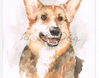 "Corgi Original Watercolor Painting 11x14"" , Corgi Dog Art Painting, Corgi Watercolor, Corgi Portrait, Corgi Sausage dog, Corgi Wall Decor"