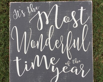 It's the Most Wonderful Time of the Year Wood Sign-Christmas Sign-Christmas Decor-White Christmas-Farmhouse Christmas-Vintage, Black & White