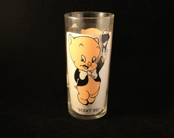 Porky Pig Glass Vintage 1973 Pepsi Warner Brothers Looney Tunes Collector Glass Tumbler, Federal Glass