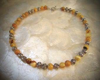 necklace baltic butterscotch egg yolk butterscotch white amber  silver with karen hill tribe beads sterling