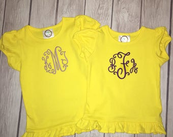 Custom Embroidered Initials or name shirt! For boys or girls. Choose colors, fonts, and style shirt!