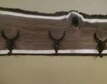 Hanger coat black walnut three solid Cass steal moose hangers