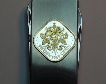 Bahamas Hibiscus - Gorgeous 2-Toned (Hand done) Gold on Silver Coin - Combination Knife and scissor Money clip