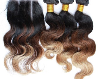 3 tone ombre 1b/4/27 Brazilian body wave ombre hair extensions 1 lace closure with 3bundles 7A 100% virgin hair free shipping
