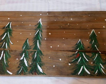 Handpainted winter trees