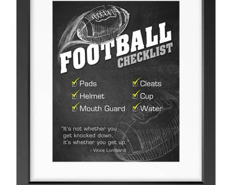 "FOOTBALL Sports Gear Checklist for Kids - 8""x10"" Art for Digital Download (PDF) - Reminder/Routine"