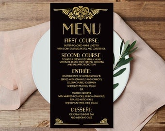 Great Gatsby Menu Card / Custom Menu / Art Deco Wedding Menu / Roaring Twenties / Black and Gold ▷ Printable File {or} Printed & Shipped