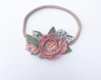 Muted Pink Rosebud Headband