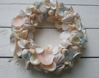 Seashell Wreath with Blue Glass