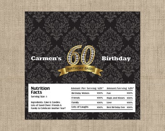 60th Diamond Birthday Candy Bar Wrappers for Hershey's Chocolates - 60th Birthday Decor - Birthday Party Favors - Damask Party Favors - 60