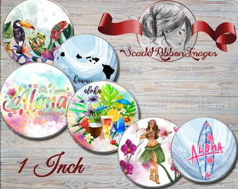 Hawaii, Aloha, Mahalo, tropical island images - 1 in circles-Set of 15- 600dpi, Collage Sheet, Labels,Cupcake topper,Tags, Mirror, BottleCap