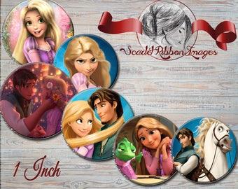 Rapunzel - Tangled 1 INCH bottle cap images -600dpi Collage Sheet - BottleCap Images - One Inch Circles for Pendants, Hair Bows