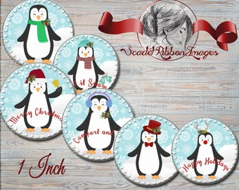 Penguin Christmas Snow Bottle Cap Images- 1 inch -  600dpi, Collage Sheet, Bows, Pendants, Cupcake toppers, Gift Tags, BottleCaps, labels