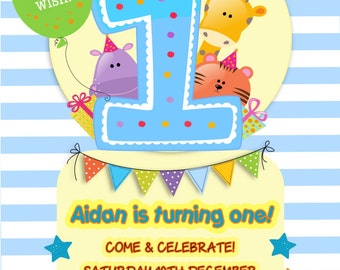 Printed Personalised 1st Birthday Party Invitations x10