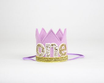 First Birthday Crown | 1st Birthday Girl Outfit | Felt Birthday Crown | Baby Girl First Birthday Hat | First Birthday Girl | Purple Gold