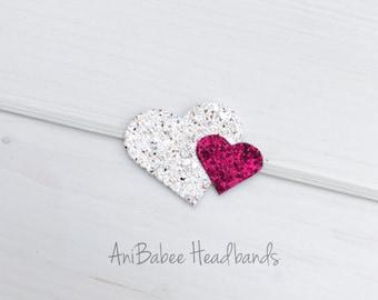 Heart Headband, Glitter Headband, Baby Headband, Valentines Headband, Valentines Day Headband, Newborn Headband, Infant Headband