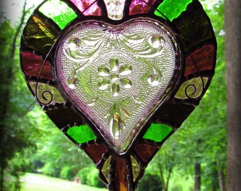 Amethyst Tiara Heart Glass Window Hanging