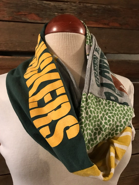 green bay packer upcycled infinity scarf
