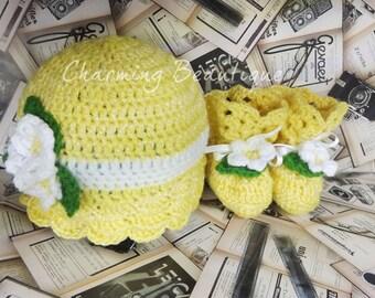 Crochet Baby Girl Set Christening Gifts Baby Shower Gift For Baby Girl Gift Crochet Baby Hat Baby Girl Booties Baby Shoes Yellow Baby Shower