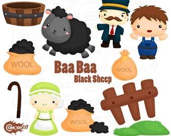 50%OFF!! Baa Baa Black Sheep Clipart - Cute Clipart, Story Clipart, Fun Clipart, Adorable Digital Clip Art