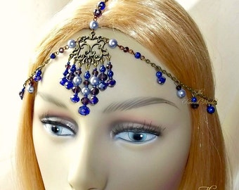 Blue Bohemian Headpiece, Warrior Goddess Headdress, Medieval Head Chain, Tribal Princess, Boho Headpiece, Ceremonial Headdress,Cosplay, Larp