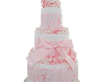 Pink Lace Baby Diaper Cake by Lil' Baby Cakes