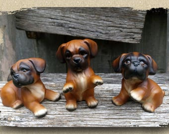 Set of 3 Bulldog Pups, Pug Dog Figurines, Puggle, Puppy Dogs, Ceramic, Porcelaine, Vintage, Made in Japan,