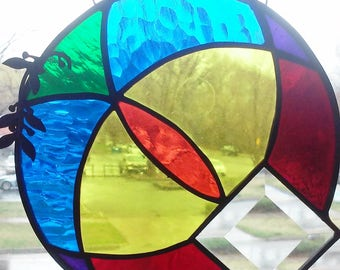 Funky Colorwheel Stained Glass Circle
