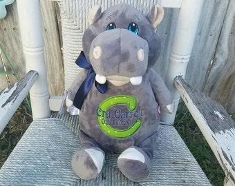 Personalized Stuffed Hippo, Monogrammed stuffed animal, Plush, Hippo cubbie