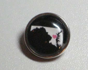 State of Maryland Snap Charm (All US States Available), Fits All 18mm-20mm Snap Jewelry
